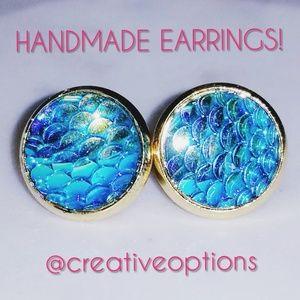 Jewelry - ✴3 for $15 Teal Mermaid Scale Stud GOLD Earrings